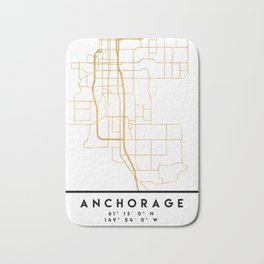 ANCHORAGE ALASKA CITY STREET MAP ART Bath Mat
