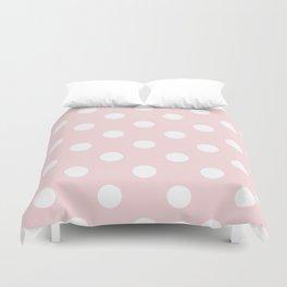 Polka Dots - White on Light Pink Duvet Cover