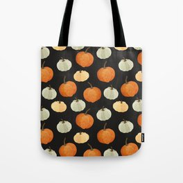 Orange yellow gray black watercolor pumpkin pattern Tote Bag