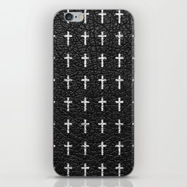 White Crosses Pattern Black Leather Photo Print iPhone Skin