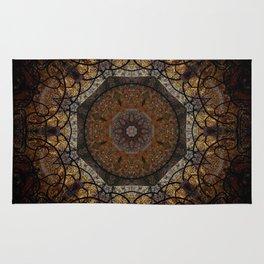 Rich Brown and Gold Textured Mandala Art Rug