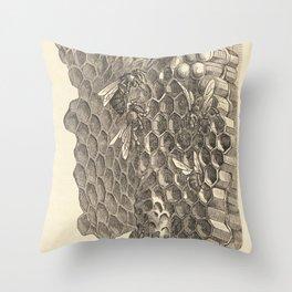 Antique Honeycomb Illustration Throw Pillow