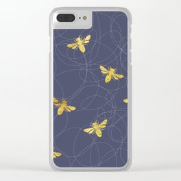 Flying Gold Bees On A Dark Blue Background Clear iPhone Case