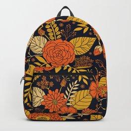 Retro Orange, Yellow, Brown, & Navy Floral Pattern Backpack