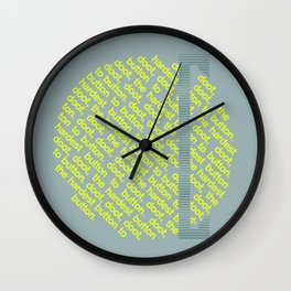 Button to Button - grey & chartreuse Wall Clock