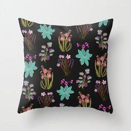 carnivorous plants black Throw Pillow