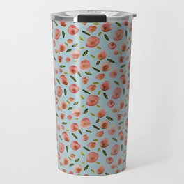 Poppies Hand-Painted Watercolors in Rose Pink on Sky Blue Travel Mug