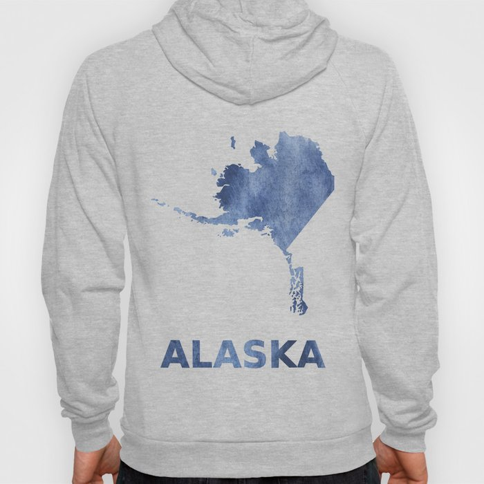 Alaska map outline Blue clouds watercolor pattern Hoody