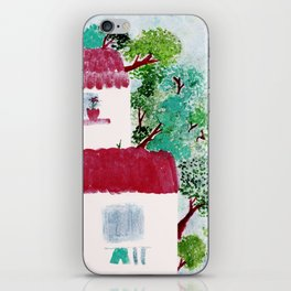 Village houses in the woods watercolor iPhone Skin