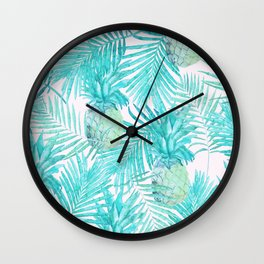 Turquoise Palm Leaves and Pineapples on Pink Wall Clock