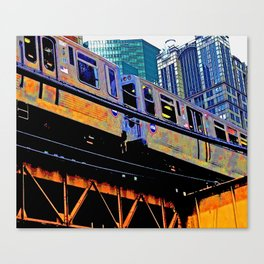 Chicago 'L' in multi color: Chicago photography - Chicago Elevated train Canvas Print