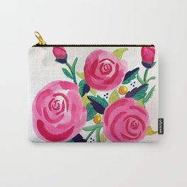 Sweet Pink Watercolor Roses Carry-All Pouch