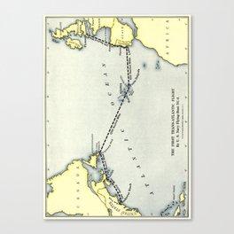 Map - The Flight across the Atlantic 1919 - First Transatlantic Flight Canvas Print