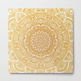 Golden Mustard Yellow Orange Ethnic Mandala Detailed Metal Print