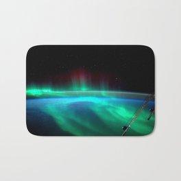 Aurora Borealis Over Earth Bath Mat