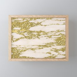Marble - Gold Marble Glittery Light Pink and Yellow Gold Framed Mini Art Print