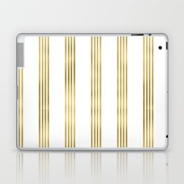 Simply luxury Gold small stripes on clear white - vertical pattern Laptop & iPad Skin