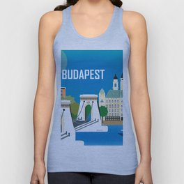 Budapest, Hungary - Skyline Illustration by Loose Petals Unisex Tank Top