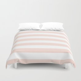 Blush Pink and White Stripes Duvet Cover