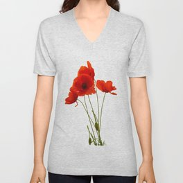 Delicate Red Poppies Vector Unisex V-Neck