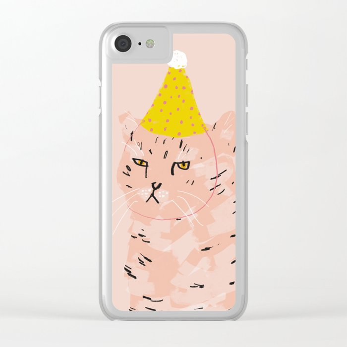 Party Cat Clear iPhone Case