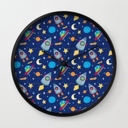 Fun Space Rockets and Aliens Wall Clock