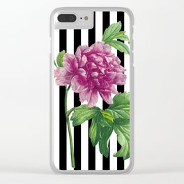 Pink Peony Black Stripes Chic Clear iPhone Case