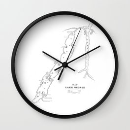 1853 Map of Lake George Wall Clock