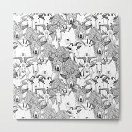 just goats black white Metal Print