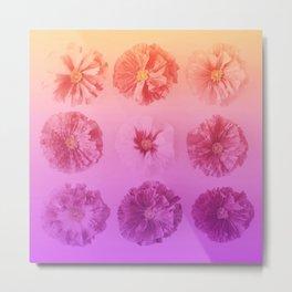 Purple Gradient Flower Grid Metal Print