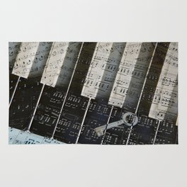 Piano Keys black and white - music notes Rug