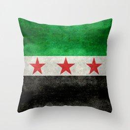 Independence flag of Syria, vintage retro style Throw Pillow