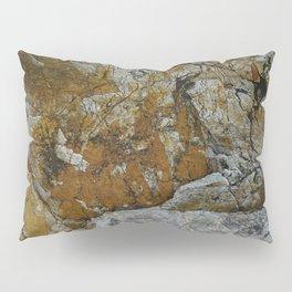 Cornish Headland Cracked Rock Texture with Lichen Pillow Sham