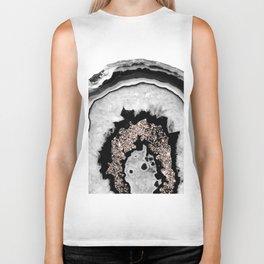 Gray Black White Agate with Rose Gold Glitter #1 #gem #decor #art #society6 Biker Tank