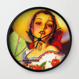 Vintage Mexico Travel Poster Wall Clock
