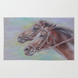 Horse Racing, Portrait of two brown horses, Pastel drawing on gray background Rug