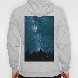 Blue Milky Way At Night Pine Tree Silhouette Stars Night Time Hoody