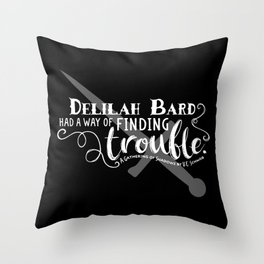 Finding Trouble (on dark) Throw Pillow