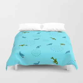 Blue Dolphin and Orca Duvet Cover