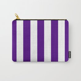 Indigo violet - solid color - white vertical lines pattern Carry-All Pouch