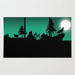 The sheep and the wolf in the woods Rug
