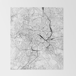 Rome White Map Throw Blanket