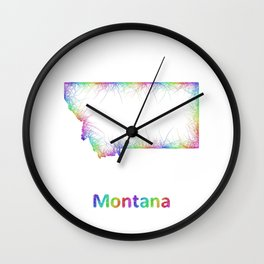 Rainbow Montana map Wall Clock