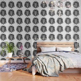 Black and White Lion Head Wallpaper