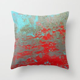texture - aqua and red paint Throw Pillow