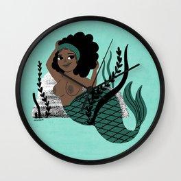 Black and Beautiful Mermaid Wall Clock