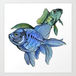 Watercolor Fish Pair Art Print