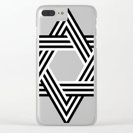 Six Stripe Hexagram Black and White Clear iPhone Case