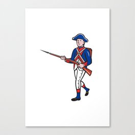 American Soldier Marching Rifle Cartoon Canvas Print