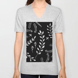 White Leaves Pattern #3 #drawing #decor #art #society6 Unisex V-Neck